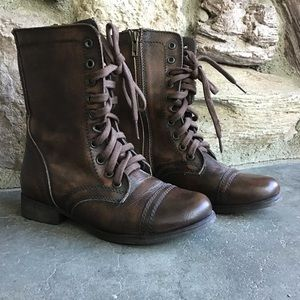 Steve Madden Ankle Boots Combat Brown Troopa NWOT